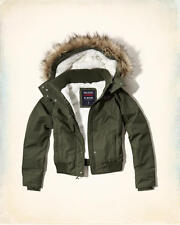 Abercrombie & Fitch Hollister All Weather Sherpa Bomber Jacket XL Olive NWT