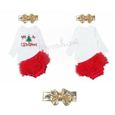 My 1st Christmas Infant Baby Girls Romper Bloomers Headband Party Outfit Set New