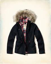 Abercrombie & Fitch Hollister Jacket Women's Anorak Wool Hooded Fur XS Navy NWT
