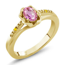 0.57 Ct Oval Pink Sapphire Yellow Sapphire 18K Yellow Gold Plated Silver Ring