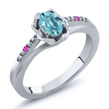 0.77 Ct Oval Blue Zircon Pink Sapphire 925 Sterling Silver Ring