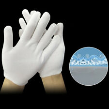 12 Pairs White Inspection Cotton Lisle Work Gloves Coin Jewelry Lightweight