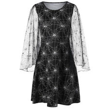 Lady Women Dress Lace Spider Web Print Flare Long Sleeve Evening Party Dress