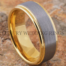 Tungsten Ring Brushed 14K Gold Wedding Band Mens Comfort Fit Size 6-15 LWR
