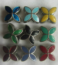 Silver Tone Enamel Flower Bead Fits European Charm Bracelet FREEPOST UK Seller