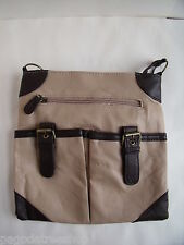 New Over Body Messenger Bag with outer pockets & zip in Beige or Grey