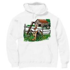 Pullover Hooded hoodie country sweatshirt Farm scene antique tractor farmer