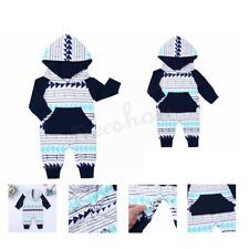 Infant Baby Kids Boys Girls Long Sleeves Hooded Romper Jumpsuit Bodysuit Outfits