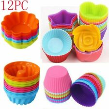 12PC Silicone  Soft Cake Muffin Chocolate Cupcake Bakeware Baking Cup Mold Mould