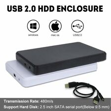 "USB 2.0 SATA External 2.5"" 2TB HDD SSD Hard Drive Enclosure Disk Case Box PC Mac"