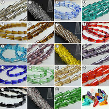 50pcs Various Color Synthetic Crystal Gemstone Tower Shape Loose Beads 8x16mm