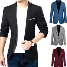 Mens Slim Fitted Casual One Button Business Blazer Jacket Padded Shoulder Coat