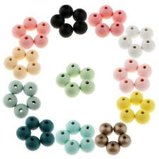 30pcs Natural Wood Bead Spacer Round Ball Candy Color Dyed Beads 18mm DIY
