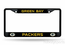 Green Bay Packers Black Chrome Metal License Plate Cover Frame NEW!! Rodgers
