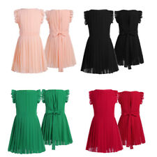 Kid Girl Pleated Dress Princess Chiffon Pageant Wedding Birthday Party Ball Gown