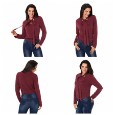 Women Ladies Long Sleeve Crew Neck Bow Tie Pullover Sweater Casual Tops T-Shirts