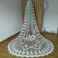 New Cathedral Bridal Wedding Veil 1T 3M Lace Edge White/Ivory With Comb