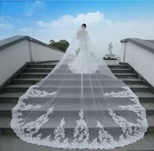 New Cathedral Bridal Wedding Veil Long Lace Edge White/Ivory 1T 3M With Comb