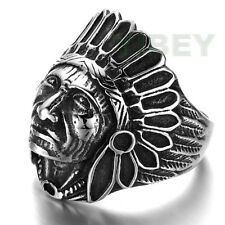 Mens Stainless Steel Biker Skull Indian, Chief Head Ring ,Black Silver Size 8-13