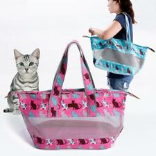 Canvas Ventilated Mesh Pet Carrier Dog Cat Puppy Travel Bag Padded Tote Handbag