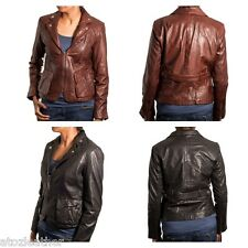 Ladies Unique Biker and Blazer Fusion Style Real Leather Jacket in Black/Brown