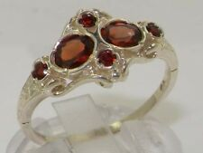 Rare Unusual Solid 925 Sterling Silver Natural Garnet Victorian Style Ring