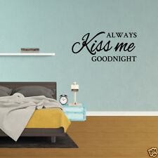 Wall Decal Quote Always Kiss Me Goodnight Bedroom Vinyl Sticker Decor (PC739)