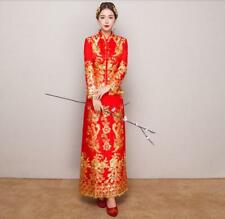 Vogue Women's Cheongsam Wedding Bride Dress QiPao Chinese Dress Evening Long Red