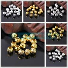 30Pcs 8mm Round Silver/Gold Plated Metal Brass Charms Loose Big Hole Beads