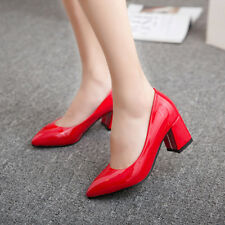 Womens Block Mid Heel Pointed Toe Patent Leather Pumps Wedding Shoes AU 2-12