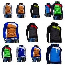 Mens Hooded Coats Winter Autumn Patchwork Comfy Pullover Sweater Casual Tops