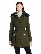 GUESS Jacket Women's Belted Quilted w- Fur Trim Winter Parka Anorak M Olive NEW