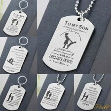 Dog Tag Necklace Gifts For Mum Father Dad Mother Teacher Dad Keyring Charm Heart