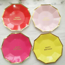 Cake 8pcs Party Supplies Round Birthday New Paper Plates Disposable Tableware