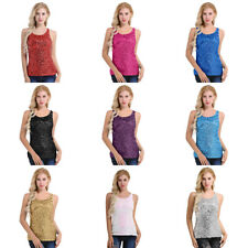 Women Glitter Round Neck Sleeveless Cami Vest Tank T Shirt Blouse Tops Nightclub