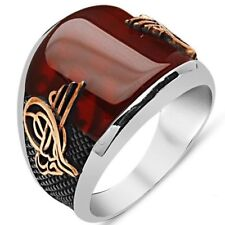 STERLING 925 SILVER HANDMADE JEWELRY AGATE AQEEQ MENS RING