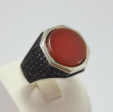 STERLING 925 SILVER HANDMADE MENS JEWELRY AGATE-AQEEQ MEN'S RING