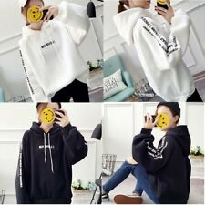 Girls Loose Long Sleeves Warm Hooded Sweatshirt with Fashion Letters Print MU