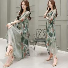 New Womens Floral Printed Long Dress Cardigan Two-piece Literature Dresses 67888