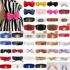 Women Lady Stretch Buckle Waist Belts Bow Wide Leather Elastic Corset Waistband