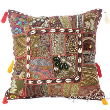 "16"" Brown Decorative Patchwork Sofa Throw Pillow Cushion Cover Indian Bohemian B"