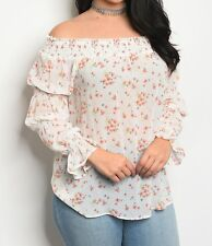 Smocked Blouse | Off the Shoulder Top | Smocked Flare Cuff Sheer Floral Tunic