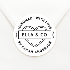 Personalised Circle Handmade With Love White or Kraft envelope Sticker Labels