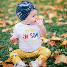 "Summer Baby Unisex Short Sleeves ""RAINBOW"" Letters Printing Triangle Romper  MC"