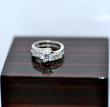 2 Pieces Ring Set 1.18Ct genuine Sterling Silver Engagement Ring Stamped 925