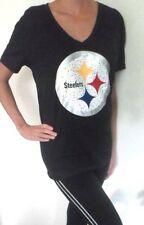 Victorias Secret Pink Bling Pittsburgh Steelers Tee Top Shirt XS S M L Black