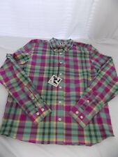 New Mens Rockies Plaid Shirt Button Front Long Sleeves 100% Cotton Purple Green