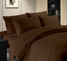 Egyptian Cotton 1000 Tc Sheet Set Doona Set Fitted Brown Solid AU Queen
