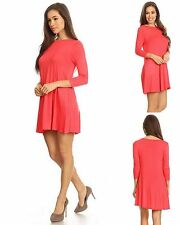 Womens Rayon Blend Knit Swing Tunic Top Shirt Blouse Dress Pockets S M L Coral