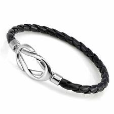 Men Women Infinity LEATHER Black Brown Braided Wristband Bracelets GM054A5